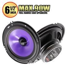 2 pces 6.5 Polegada 90w freqüência completa carro alto-falante de áudio pesado mid-bass ultra-fino modificado alto-falante instalação não destrutiva