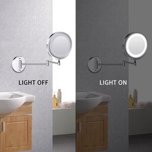 Image 4 - Duvara monte banyo aynası led makyaj aynası 1X/5X büyütme ayarlanabilir kozmetik ayna USB şarj dokunmatik karartma aynalar