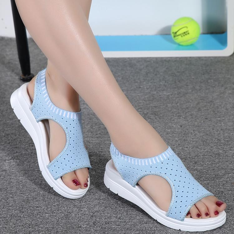 Summer New Women Flat Sandals Casual Slip On Breathable Wedge Sandals Fashion Peep Toe Comfortable Mesh Platform Shoes Female