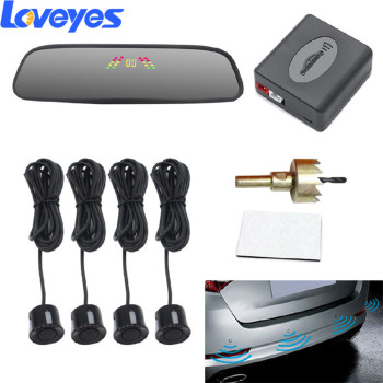 цена на Auto Parking Radar Monitor Detector Car Reversing Image Crescent Buzzing Voice 4 Probes Parktronic Sensors Digital Display PZ306
