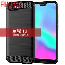 FHUIL Phone Case For Huawei honor 10 Carbon Fiber Bumper Shockproof TPU Cases Silicone Cover Mobile