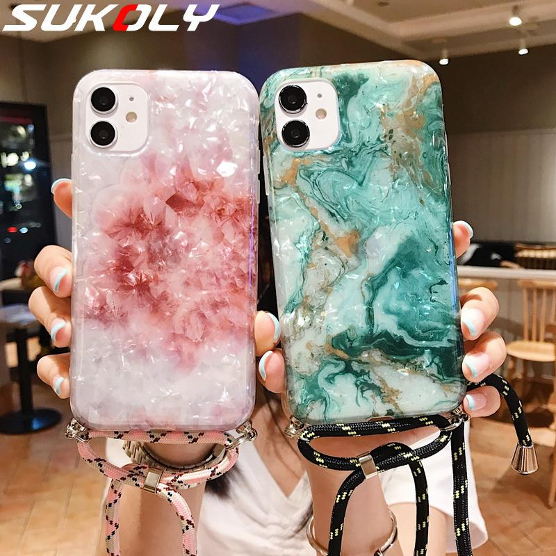 Marble Necklace Strap Rope Phone Case For iPhone 11 11Pro 11 Pro Max XR XS Max 7 8 Plus SE 2020 Lanyard Neck Cord Shell Cover