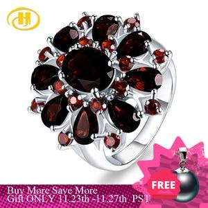 Image 1 - Gümüş granat yüzük 925 takı taş 7.54ct doğal siyah Garnet yüzükler kadın güzel takı klasik tasarım noel hediyesi