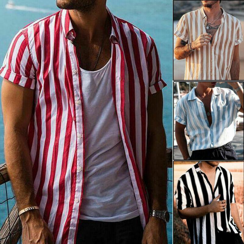 2019 Men's Short Sleeve V-Neck Striped Button Up Shirt Summer Casual Blouse Tee Tops