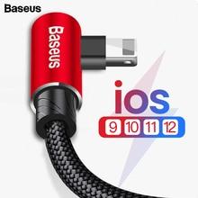 Baseus 90 градусов USB кабель для iPhone XS Max XR X 8 7 6 6s 5 5S iPad Быстрая зарядка зарядное устройство кабель для передачи данных адаптер кабель для мобильного телефона