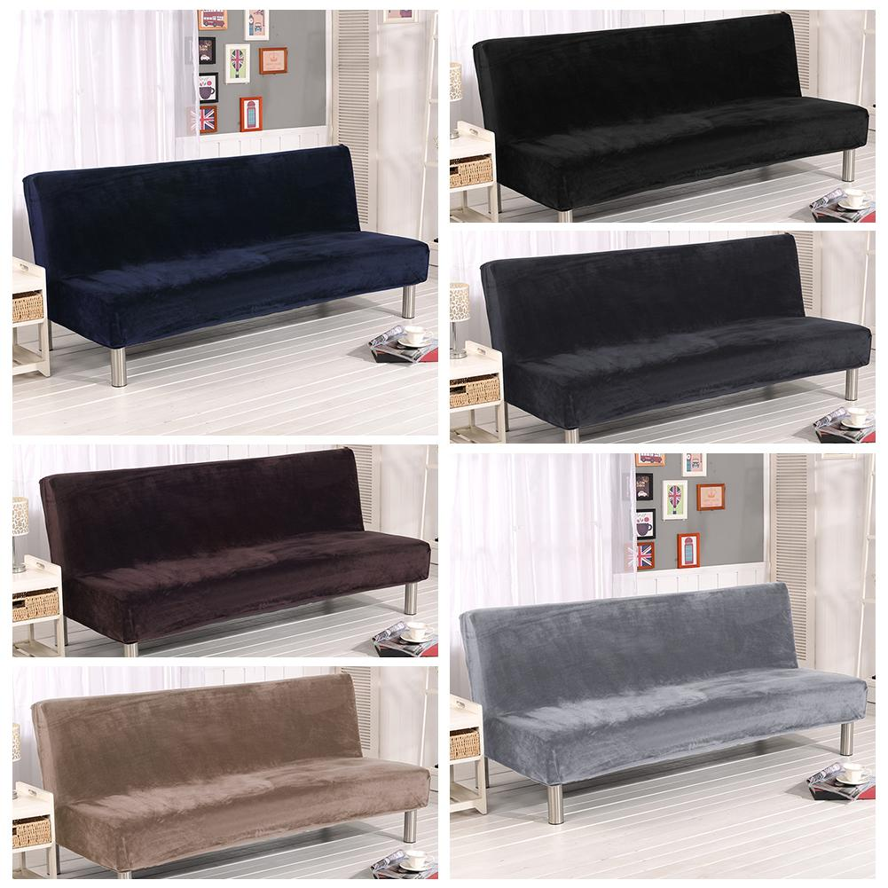 Armless Sofa Bed Slipcovers Stretch Elastic Universal Couch Cover Non-Slip Home