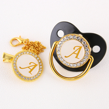 Baby Pacifier Chain-Clip Blingbling Bpa-Free Infant Silicone Luxury Letter with Toddler