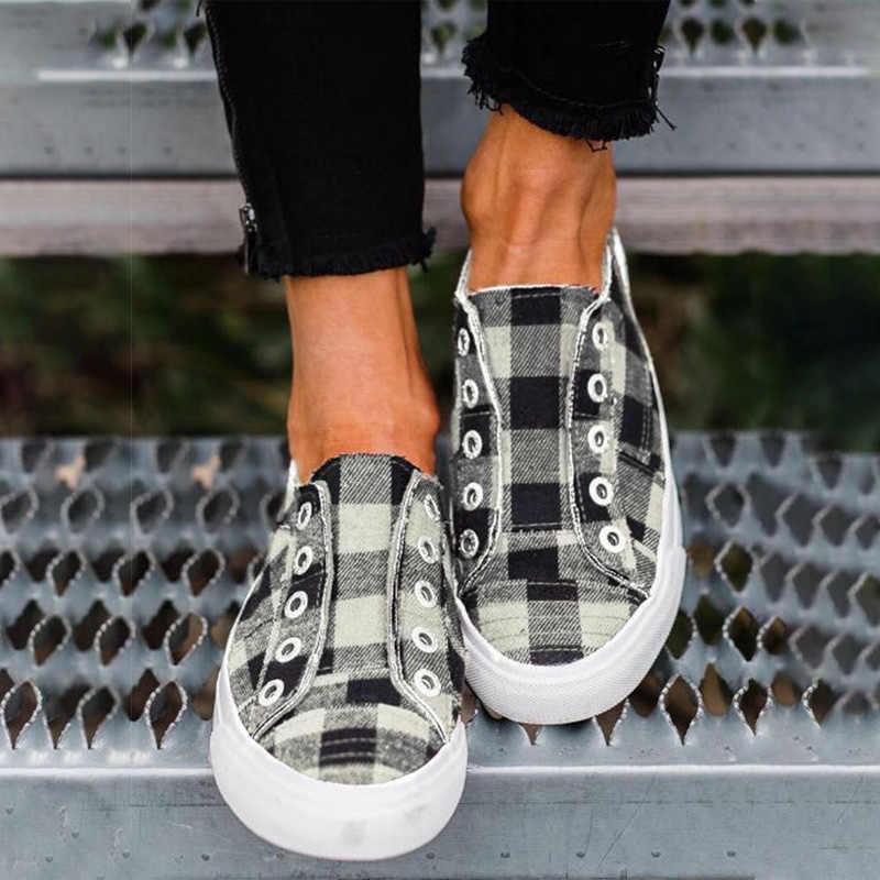 Frauen Vulkanisierte Schuhe Frühling Frauen Casual Wohnungen Frau Slip Auf Flache Plattform Damen Gitter Damen Bequeme Turnschuhe 2020