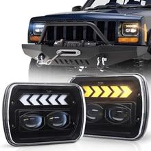5x7 farol selo feixe led farol branco drl/âmbar sinal de volta seta de halo para jeep-cherokee xj yj mj chevy s10