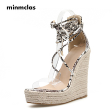 MInmclas Womens Shoes Wedges Espadrilles Plaform 4cm High Heel Snake Pattern Slope with Cross Ankle Strap Sandals