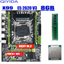 X99 материнская плата с XEON E5 2620 V3 1*8G DDR4 2666MHZ REGECC комбо памяти набор NVME USB3.0 MATX сервер Qiyida X99 H9