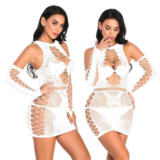 Сексуальное нижнее белье размера плюс, эротическое нижнее белье Babydoll, Женская Черная кружевная ночная рубашка, костюмы большого размера, платье для сна 3