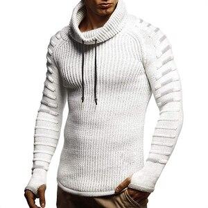 Image 2 - חדש חורף גברים אופנה מזדמן סוודר mens להתחמם סריגי סוודר גולף מוצק צבע סוודר לגברים מעיל בתוספת גודל