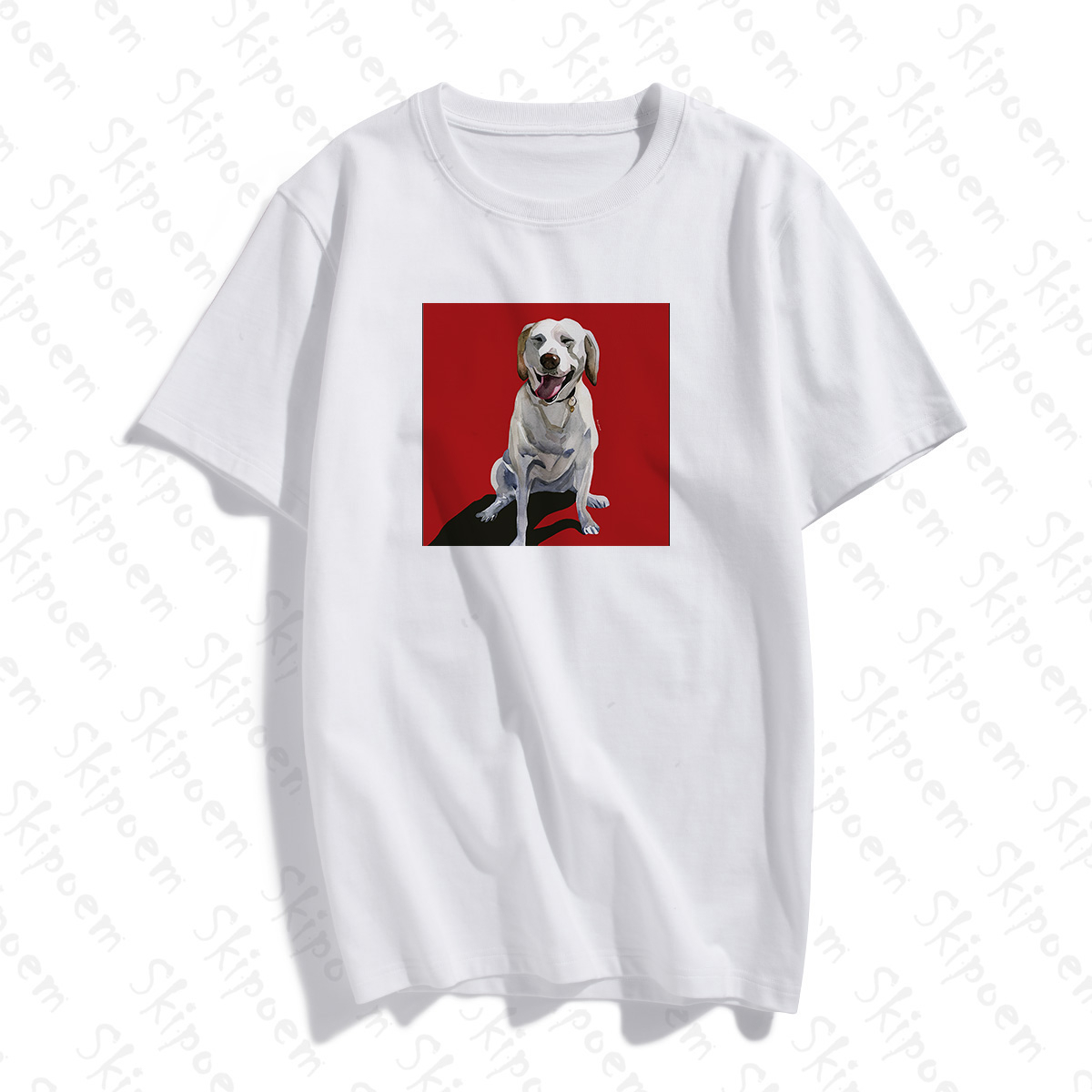 2020 Fashion Cotton T shirt Funny Oil Painting <font><b>Dog</b></font> <font><b>Art</b></font> Custom Cotton O Neck T Shirt Plus Size Short Sleeve Brand Female <font><b>TShirt</b></font> image