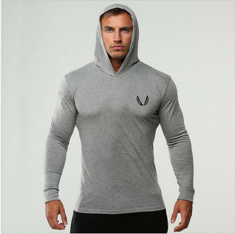 Men Sport Thin Hoodie Long Sleeve Hoodies Sweatshirt Casual Fitness Hooded Tops Sport Men Hoodie Running Mens Hoodies