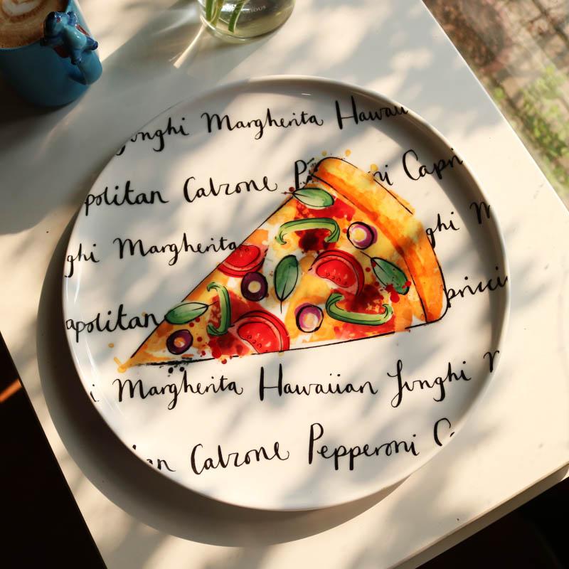 Assiette à Pizza en céramique pour four | De grande taille de 12 pouces, vaisselle colorée à motif de Pizza, vaisselle ronde