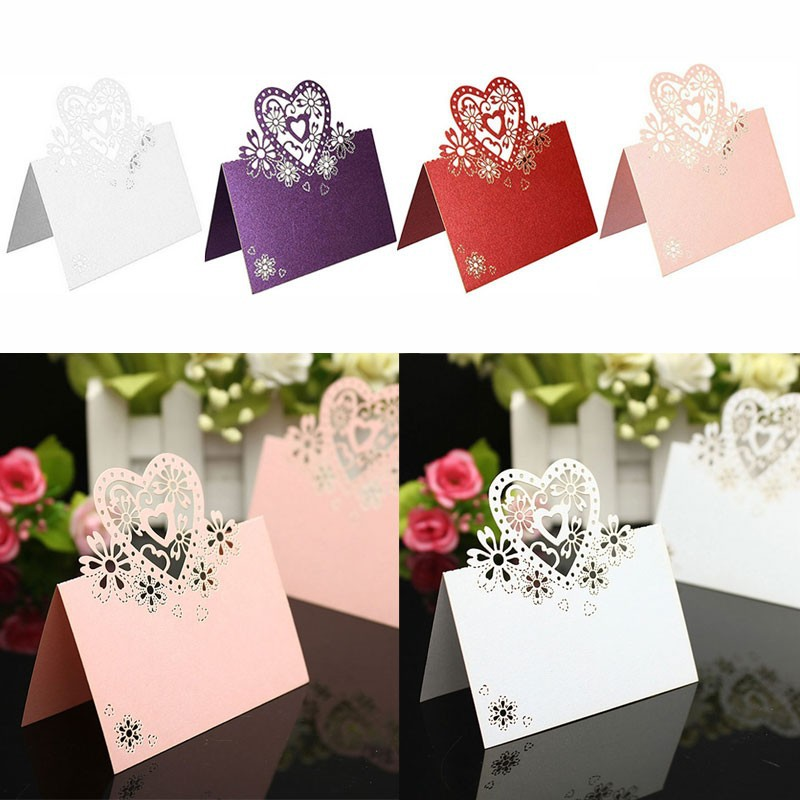 50pcs Kawaii Seat Card Vintage Table Butterfly Reception Table Wedding Birthday Laser Cut Heart Place Cards Party Supplies