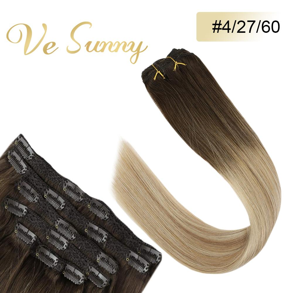 VeSunny Double Weft Clip In Hair Extensions 100% Real Human Hair 7pcs 120gr Clip On Hair Balayage Brown Ombre Blonde #4/27/60