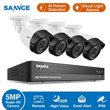 SANNCE 8CH 5MP-N HD H264+DVR Home Security Camera System 5MP Infrared Night Vision IP66 Outdoor AI Cameras Surveillance CCTV Kit home 8ch cctv security camera set day night 600tvl camera 8channel dvr kit 1tb hard drive color video surveillance system sk 059