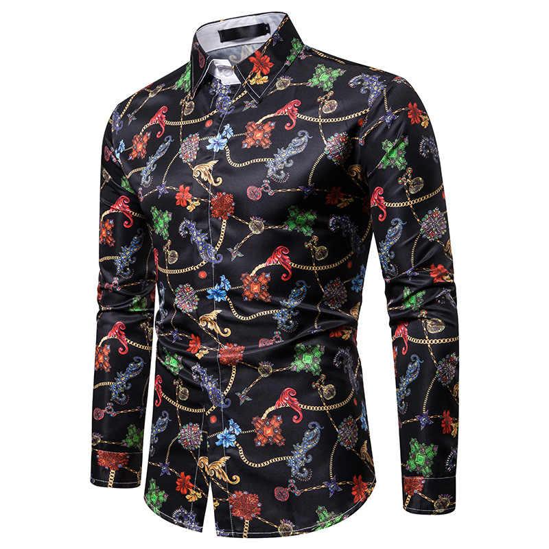 럭셔리 로얄 망 셔츠 캐주얼 슬림 맞는 크로스 보석 인쇄 긴 소매 슬림 맞는 Chemise 옴므 남자 파티 파티 턱시도 셔츠