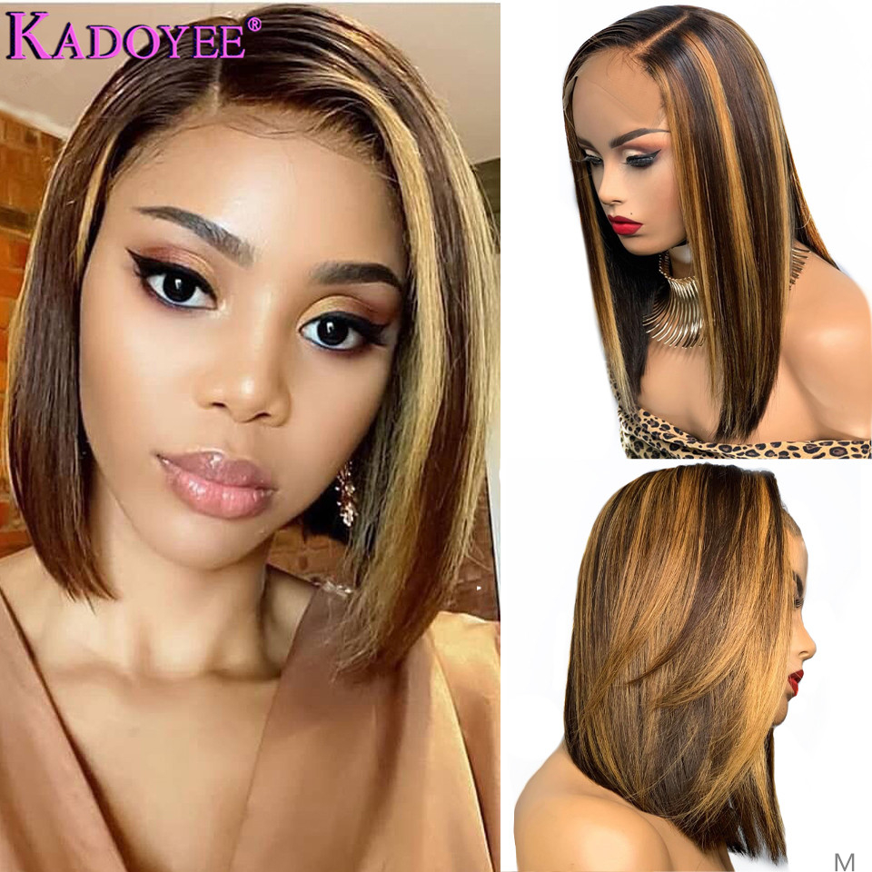 Ombre Brown Human Hair Wigs Bob Straight Lace Front Wig Brazilian Remy Hair 13x4 Front Wig For Black Women Blonde Highlight Wig