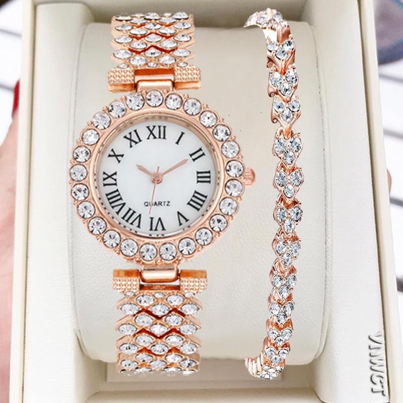 Women Bracelet Watches Steel belt Love Steel belt Rhinestone Quartz Wrist Watch