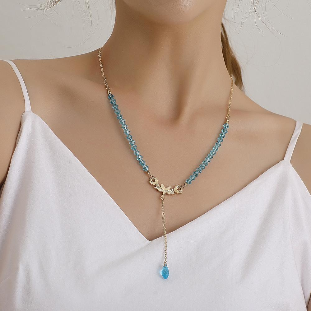 Bohemia Blue Glass Beads Crystal Necklaces Long Golden Chain Tassel Drop Pendant Necklace Women Gifts Jewelry