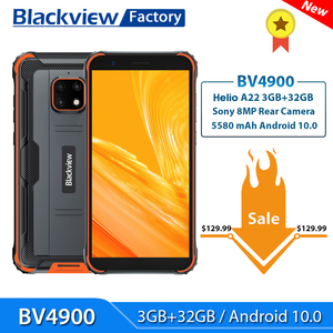 Blackview BV4900 Smartphone 3GB+32GB Android 10 IP68 Waterproof Mobile Phone 5580mAh 5.7'' NFC 4G LTE Rugged Cellphone