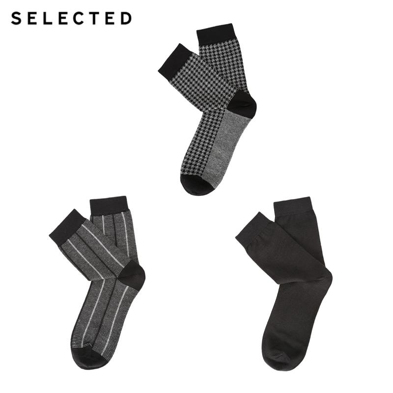 SELECTED Men's Cotton 3-pack Mid-calf Knit Socks A|41911Q506