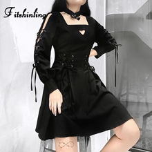Fitshinling Gothic Lace Up Choker Dress Autumn Winter Slim Grunge Pleated Short Dresses For Women Goth Dark Heart Cut Vestidos