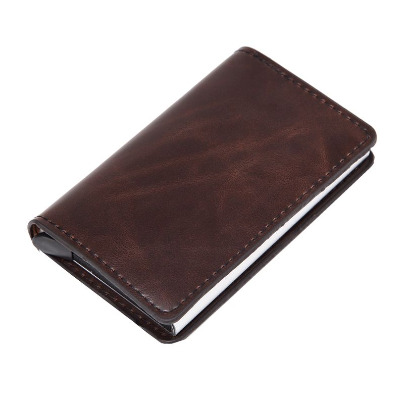 Men Women Vintage Oil Wax Leather Credit Card Holder Blocking Rfid Wallet Leather Automatic Popup Card Aluminum Metal Purse