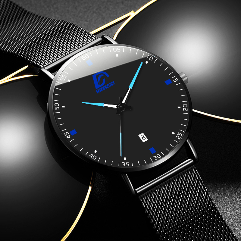 DIJANES Fashion Mens Minimalist Watches For Men Luxury Business Ultra Thin Stainless Steel Mesh Belt Quartz Watch Reloj Hombre