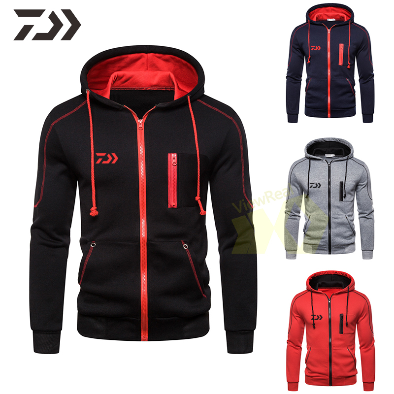 Daiwa Hooded Jacket Men Sweatshirt Men Zipper Breathable Fishing Shirt Spring Autumn Hoodie Fishing Clothing Sweatshirt Men