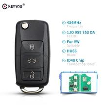 KEYYOU mando a distancia de coche inteligente plegable, 3 botones, para VW, Volkswagen, PASSAT, Polo, Skoda, Seat, 1J0959753DA, 434Mhz, con ID48