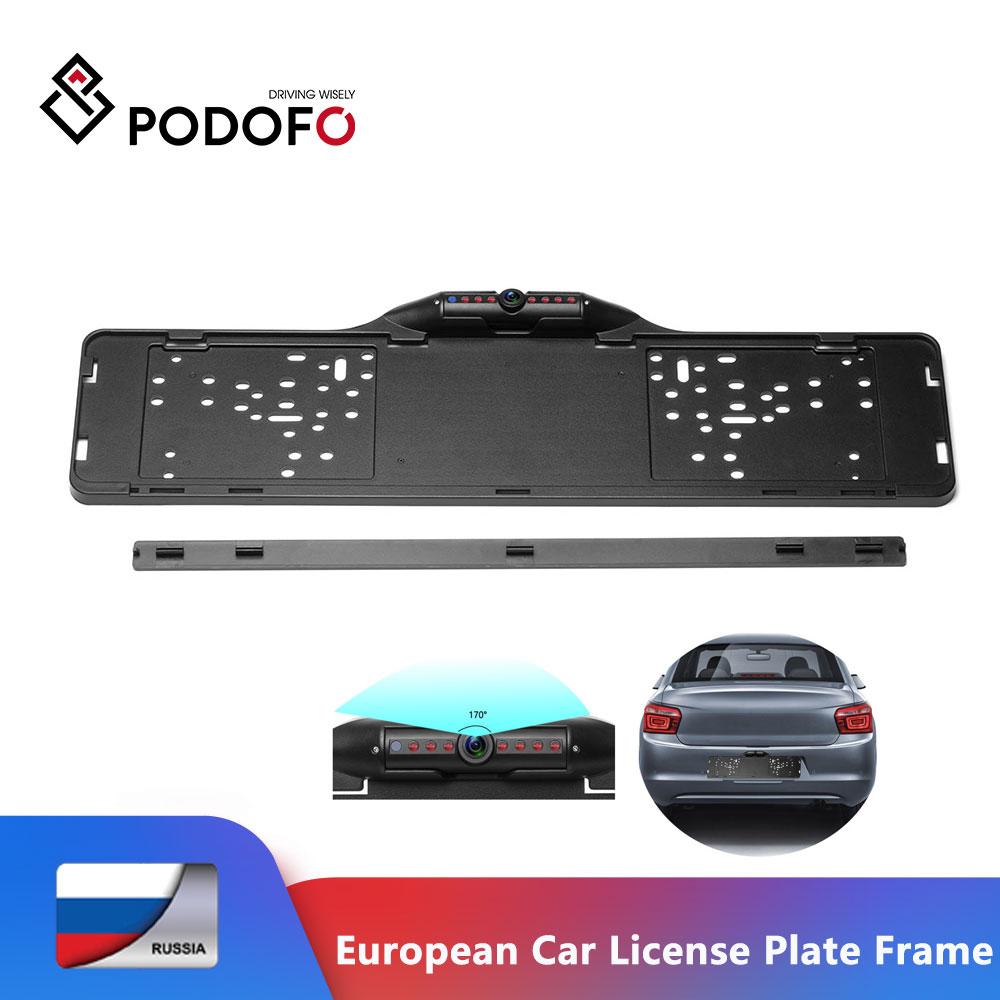 Podofo Европейский автомобиль номерной знак рамка заднего вида камера 170 градусов ночного видения водостойкая камера заднего вида парковочна...