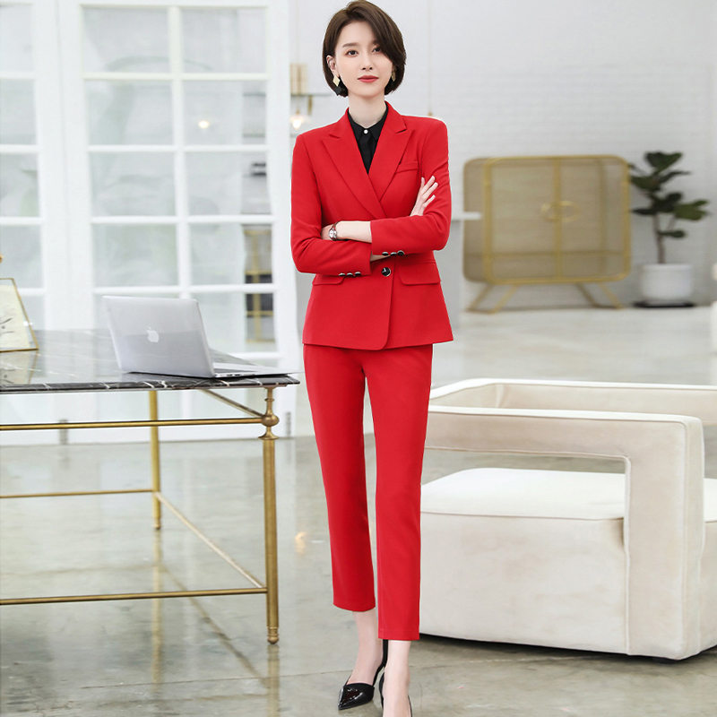 Temperament Lady Suit Set High Quality Pants Set 2019 New Double-breasted Office Red Blazer Business Women's Suit Two-piece
