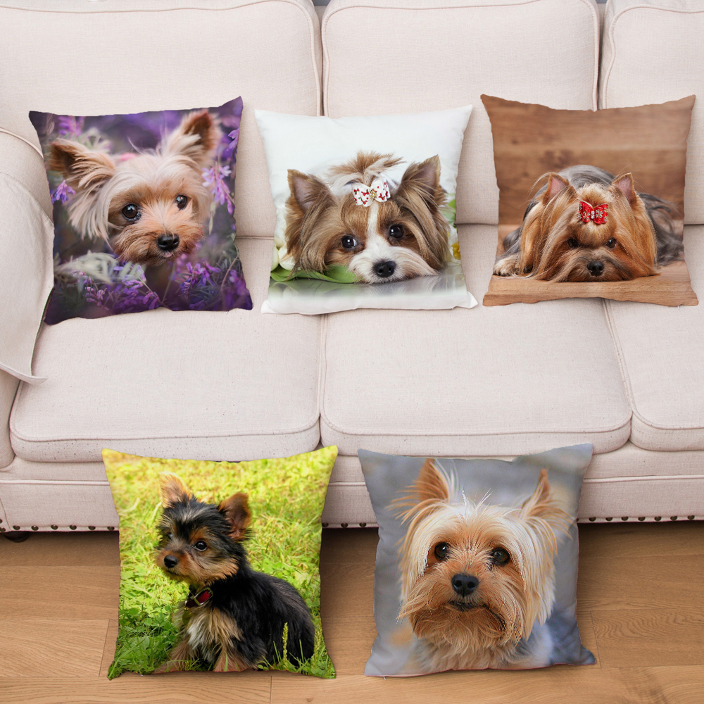 Mini Yorkshire Terrier  Super Soft Short Plush Pillow Cover 45*45cm Cushion CoverPillows Case Home Decor Pet Dog Cushion Covers