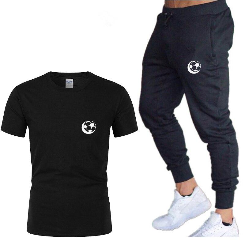 New Summer Men's T-shirt+Pants Suits Men 2 Piece Set Cotton Short Sleeve Tops And Jogging Trousers  Football Print TShirts Set