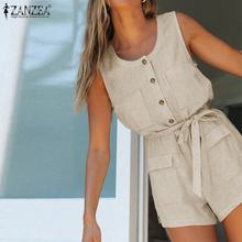Jumpsuits Summer Overalls Oversized Women's Romper BELTED Causal-Pants O-Neck Casual