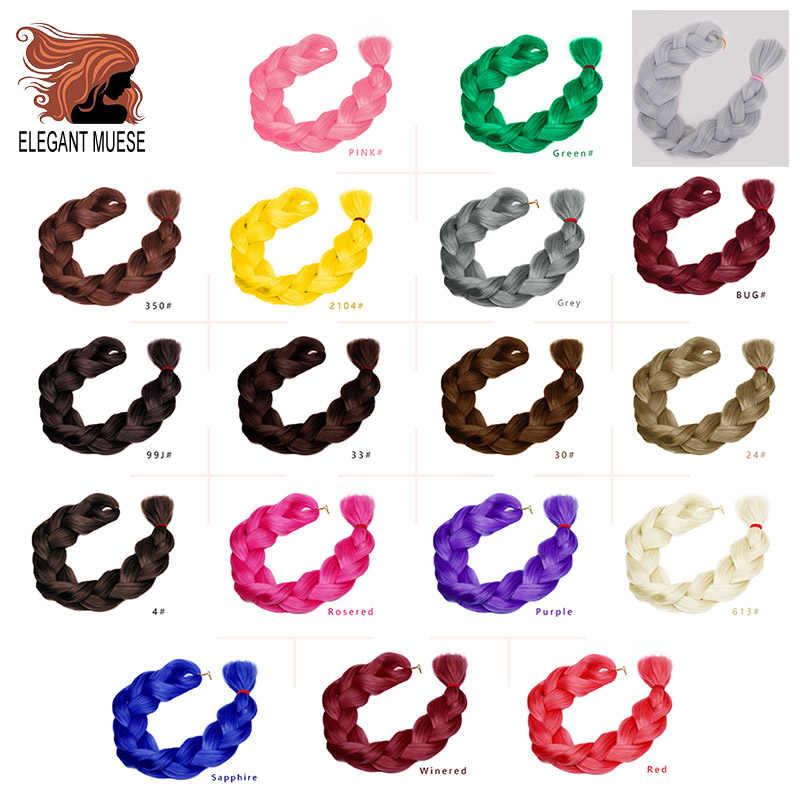 Elegante pelo trenzado de Musas 82 pulgadas fibra sintética trenza Jumbo 165g Color puro Crochet trenzado extensiones de cabello