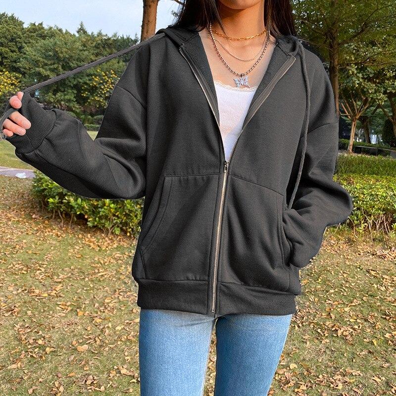 Kawaii Butterfly Zip Up Long Sleeve Summer Sweatshirts 2021 Spring Oversized Hoodies Women Cotton Black Streetwear GrayTops 8