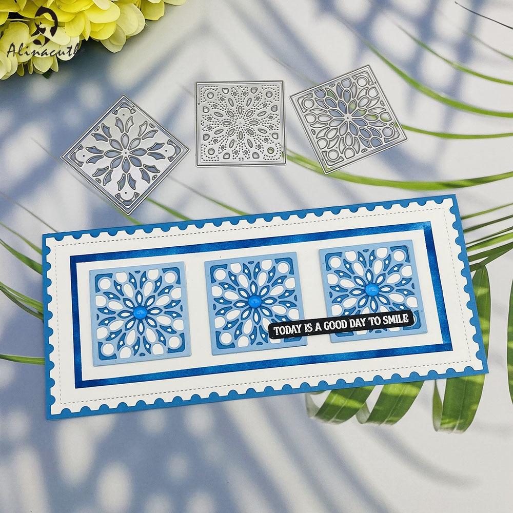 Metal Cutting die Cut 3pc layered Square Flower Frame Scrapbooking Paper Craft Handmade Card Punch Art Alinacutle Cut Dies