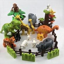 Legoing duplo animais zoo ovelhas macaco cão cerveja coelho pássaro blocos de construção brinquedos para crianças compatíveis duplo legoing figuras