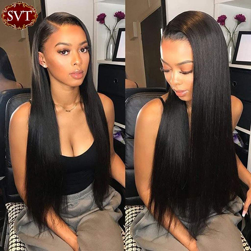 SVT Lace Frontal Human Hair Wigs Pre-Plucked Deep Part Remy Straight Brazilian 13x4 Lace Front Wigs For Black Women 8-26 Inch