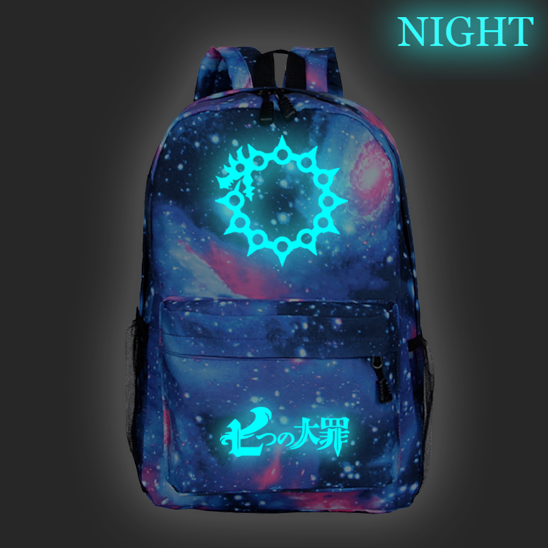 The Seven Deadly Sins School Backpacks For Teenage Boy Girls Luminous Anime Schoolbag Bag For Teenagers Student Backpack