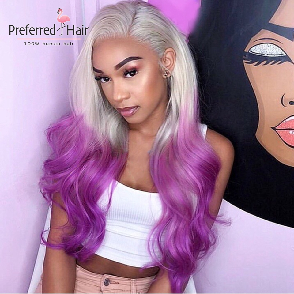 Preferred Loose Wave Lace Front Wig 13x4 Preplucked Ombre Purple Human Hair Wig With Baby Hair Transparent Lace Wigs For Women