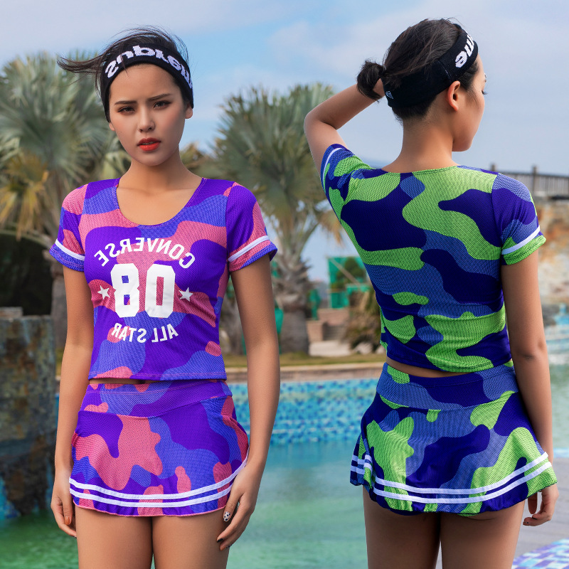 EBay Camouflage Swimsuit Women's Conservative Split Type Boxer Sports Slimming Belly Covering Short Sleeve Large Size Students H