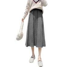 하라주쿠 치마 в ретро стиле трикотажное клетчатая юбка осень зима