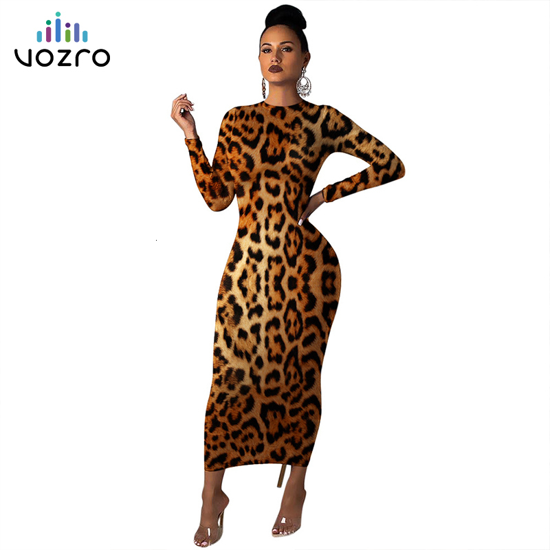 VOZRO Suit-dress Leopard Sexy Winter Maxi Party Long Autumn Bodycon Plus Size Dress Women Vestido Dresses Clothes Befree Vintage