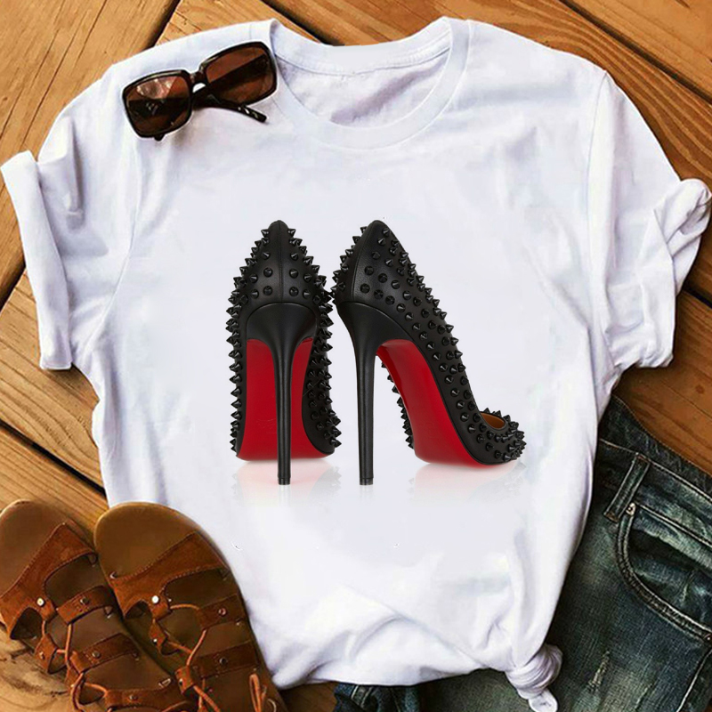 Maycaur Summer Women Tshirt Fashion High Heels Printed Short Sleeve Tops Casual T-Shirts Women's Clothing Female Vogue Shirts